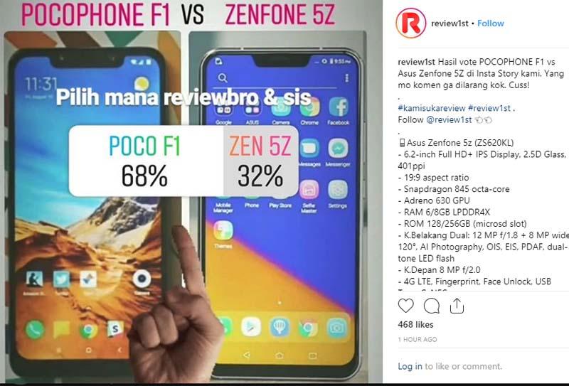 polling pocophone f1 vs zenfone 5z