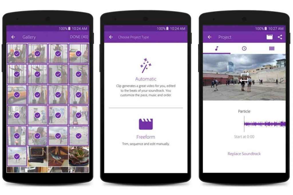 Adobe Premier Clip, android video editing application
