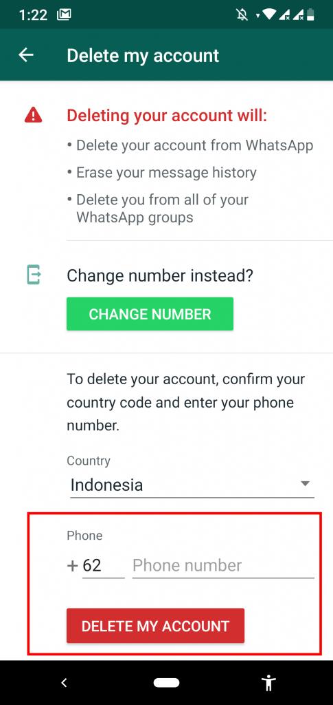 Menghapus Akun WhatsApp Secara Permanen