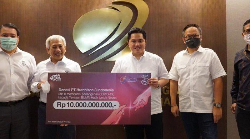 3 Indonesia Donasi 10 Miliar via Yayasan BUMN Untuk Indonesia