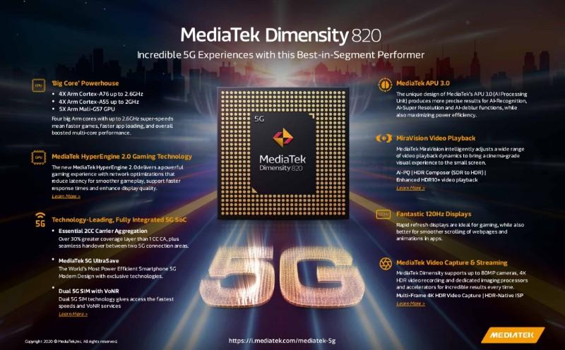 chipset 5g mediatek dimensity 820